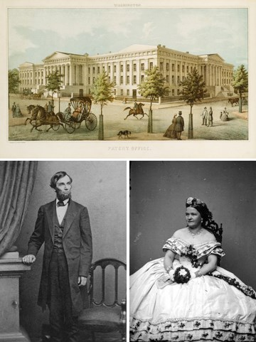 Collage of Abraham and Mary Todd Lincoln photographs and Patent Office. (National Portrait Gallery)