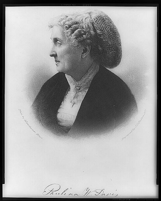 Paulina W. Davis, head-and-shoulders portrait, facing left.