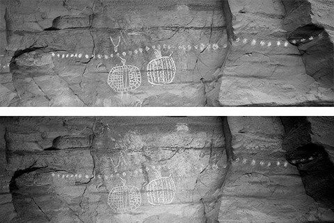 two images of a rock wall with a long row of white painted dots and two round painted figures. In one image, large human shapes are visible behind these white figures.