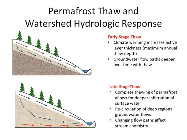 a diagram titled permafrost thaw and watershed hydrologic response with pictures explaining how water flows downhill over or under soil depending on presence of permafrost