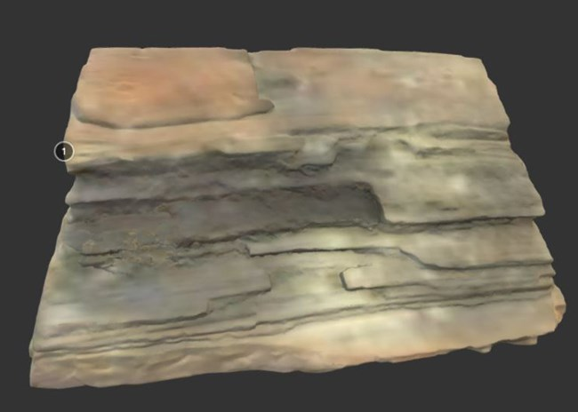 A 3d rendition of a petrified piece of wood.