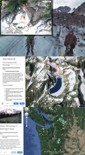 Different online maps with data points showing the movement of glaciers in Washington