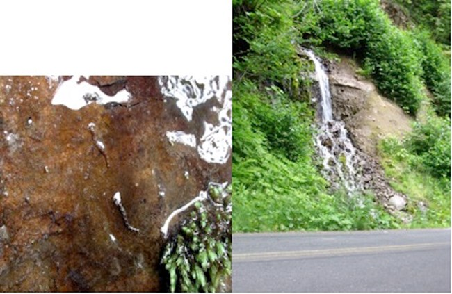 A cascading waterfall on a roadside