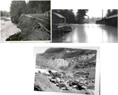 Three pictures. One showing a coursing river next to an eroded roadway. Another showing high levels of water inundating the bottem levels of buildings. The last picture shows a rocky glacier and rushing river coming from it.