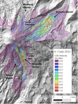 A map of the east side of Mount Rainier shaded to show the velocity of moving glacial ice.