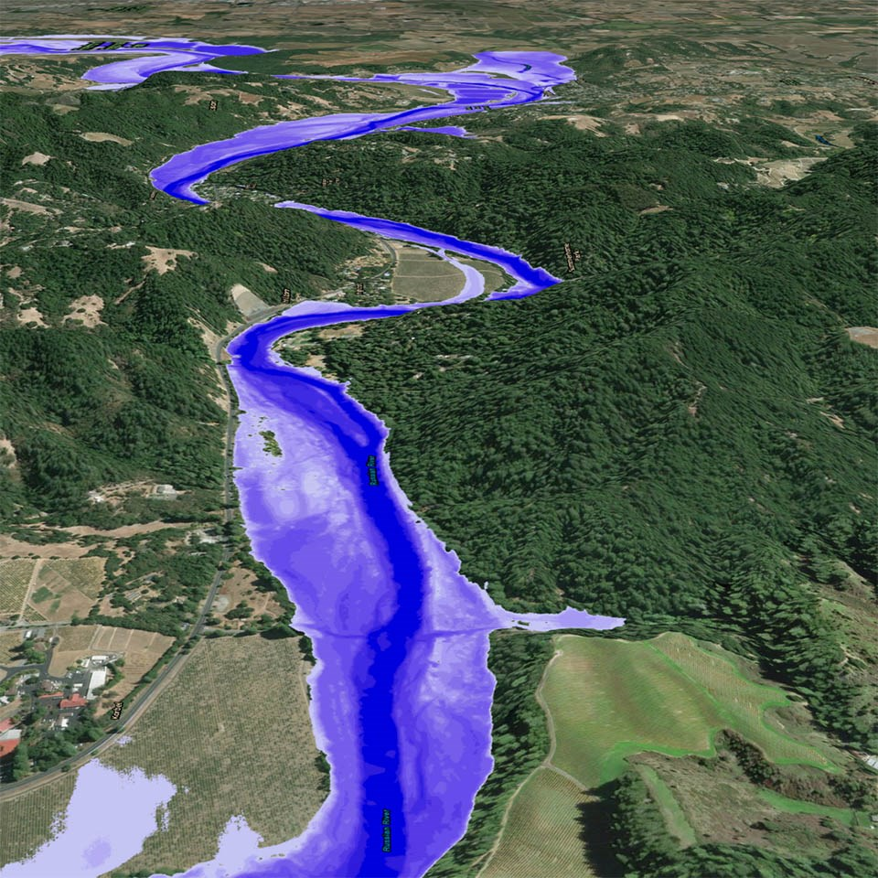 LiDAR map of a river section in Sonoma County, with flood risk areas highlighted