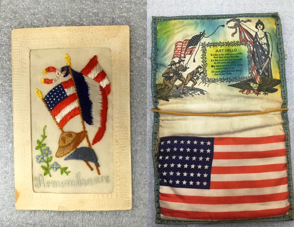 Photo of silk embroidered postcard with flags of France and United States and silk envelope with American flag and pictures of soldiers and poem