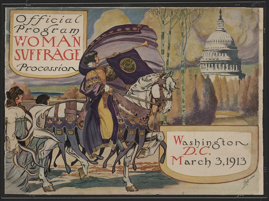 Illustrated cover of Woman Suffrage Procession program March 3 1913