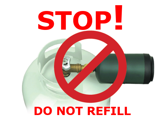 "Propane tank connected to DOT-30 non-refillable cylinder with the message, ""Stop! Do not refill"""