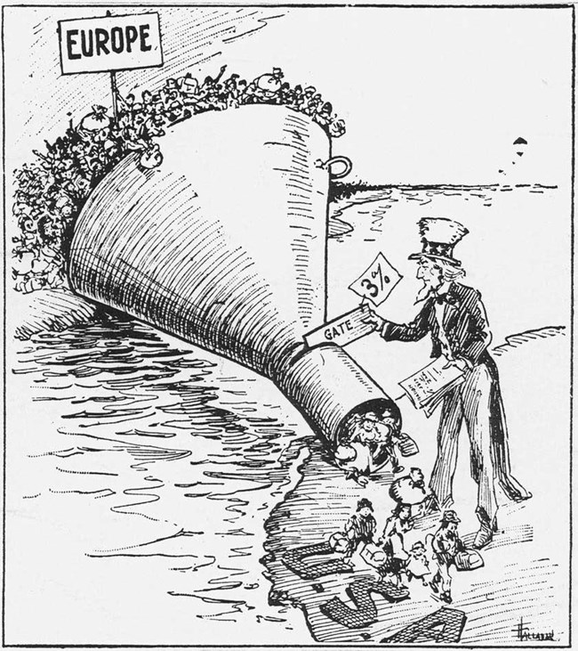 1921 political cartoon portrays America's new immigration quotas with large funnel crossing the ocean to the U.S.A.