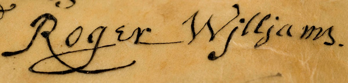 Signature of Roger Williams on yellowing parchment
