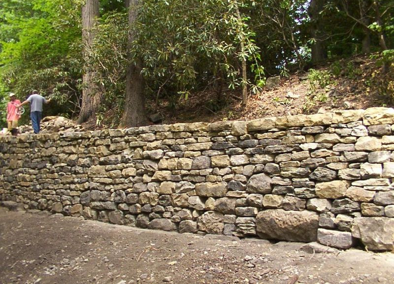Wall made out of rocks.