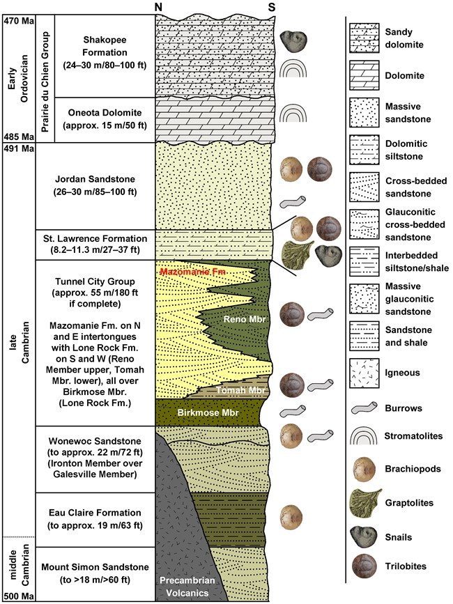 a diagram of about 9 vertical layers dividing ages of rock layers. Photos of worm and snail-like fossils are to the right of the layers. Each layer of rock is colored differently and oldest is on the bottom.