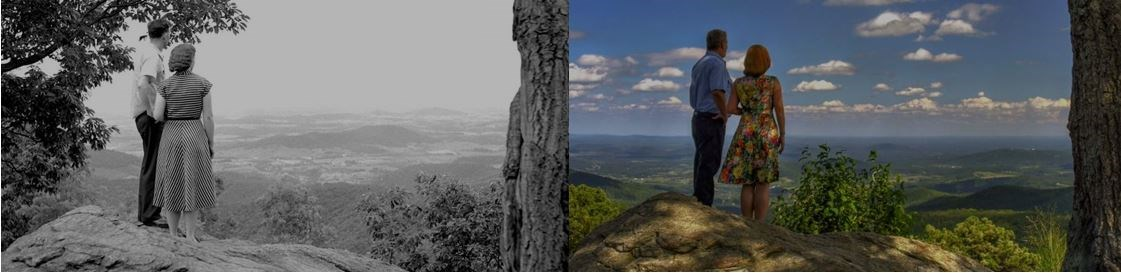 A black and white photo of a couple on a mountain overlook next to a modern photo reproduction