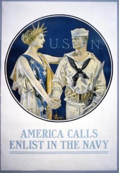 Cartoon of Liberty with WWI soldier