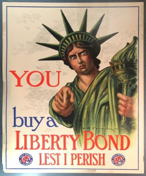 Cartoon of Statue of Liberty pointing at you to join the Army during WWI