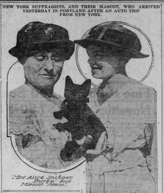 Clipping from The Sunday Oregonian newspaper from July 9, 1916 depicting suffragists Alice Burke and Nell Richardson with Saxon the cat.