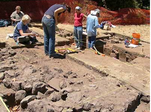 Archaeologists from Stanford University excavate the Briones house site on the Presidio.