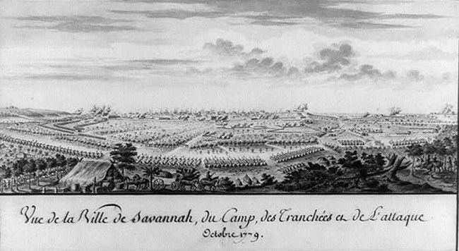 View of French camp with tents arrayed and city of Savannah in background