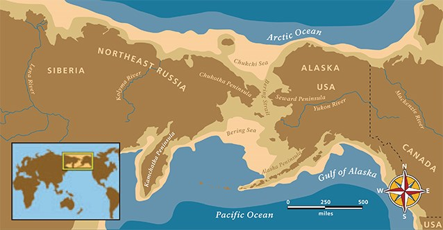 a map of beringia, a landmass connecting modern day siberia and alaska