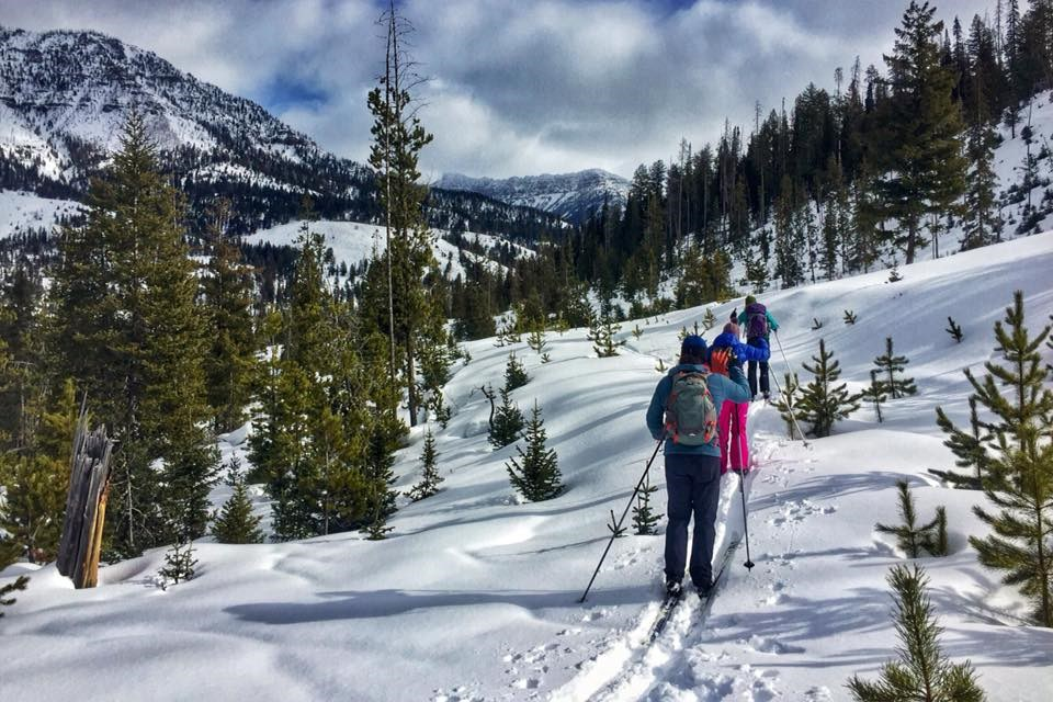 three people cross country ski in snowy mountains