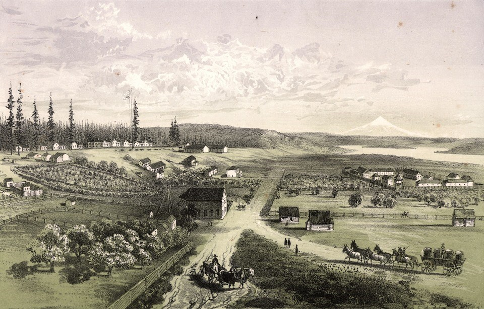 Lithograph showing the fort on a lower plain and a row of military buildings and cannons on a hill to the north.