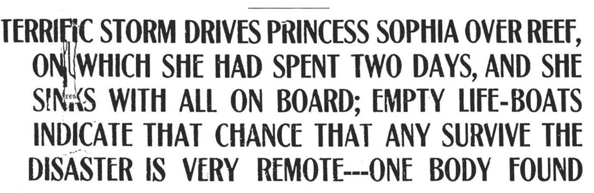 Sub Headline from The Alaska Daily Empire stating aftermath of Princess Sophia sinking.