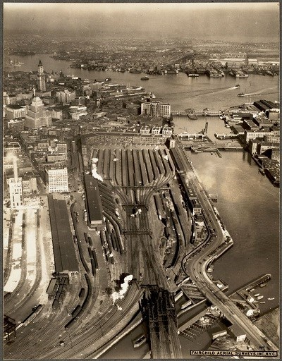 Birds-eye view of South Station, Boston in 1930.
