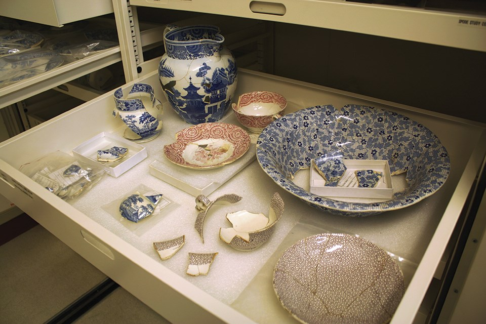 Archaeological spode ceramics in a drawer in the national park's curatorial storage area.