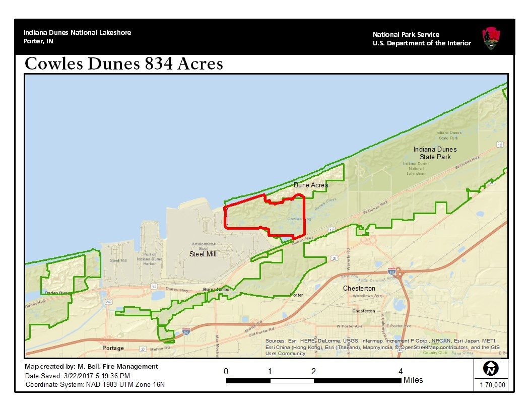 Map of Cowles Dune 834 Acre Burn Area