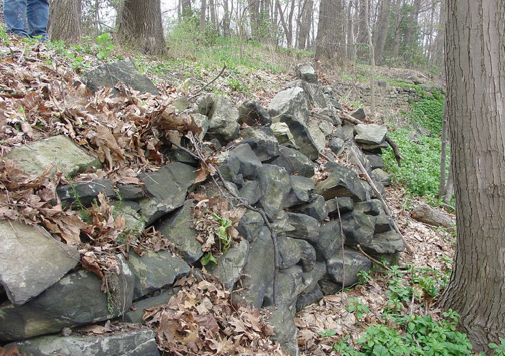 Deteriorating rock wall.