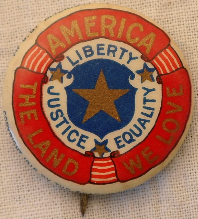 Pin with American flag decorations: America the Land we Love: Liberty, Justice, Equality""