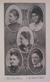 Book page showing five oval portraits of women
