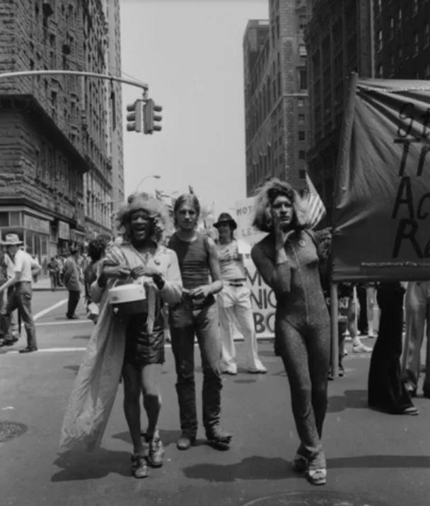 A black and white photo of Marsha P. Johnson and Sylvia Rivera at a protest