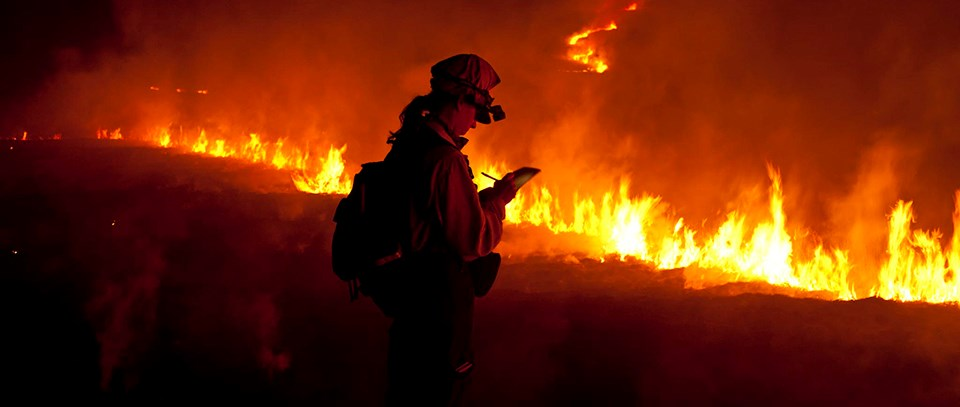 A woman takes notes near the edge of a fire line.