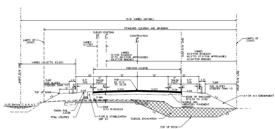 Cross section of reconstructed Tamiami Trail Roadway