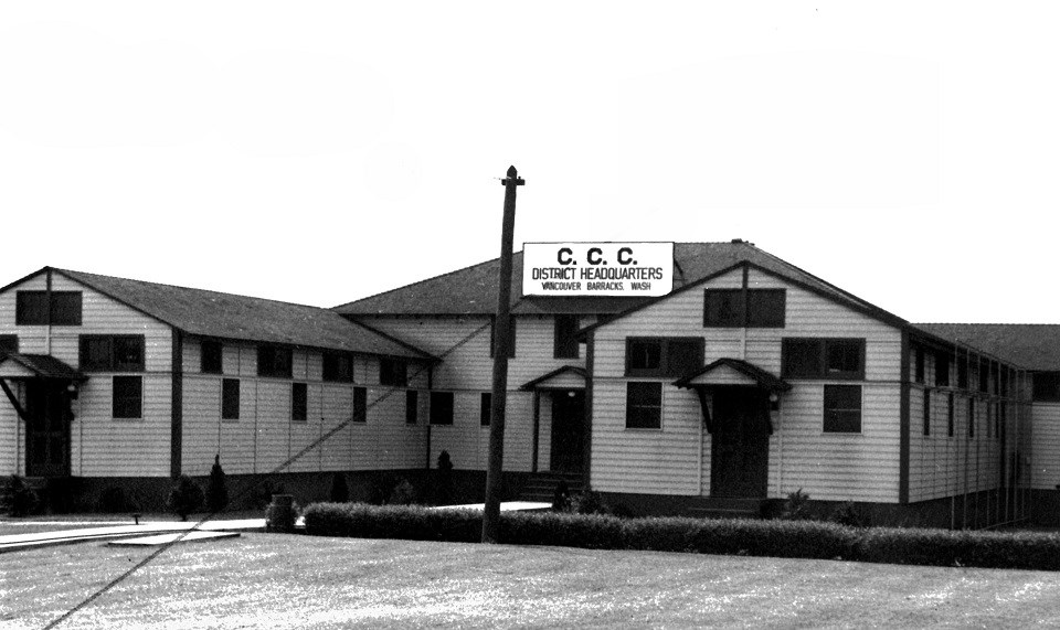 Black and white photo of CCC headquarters building.