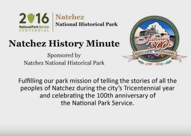 Title card for Natchez History Minutes