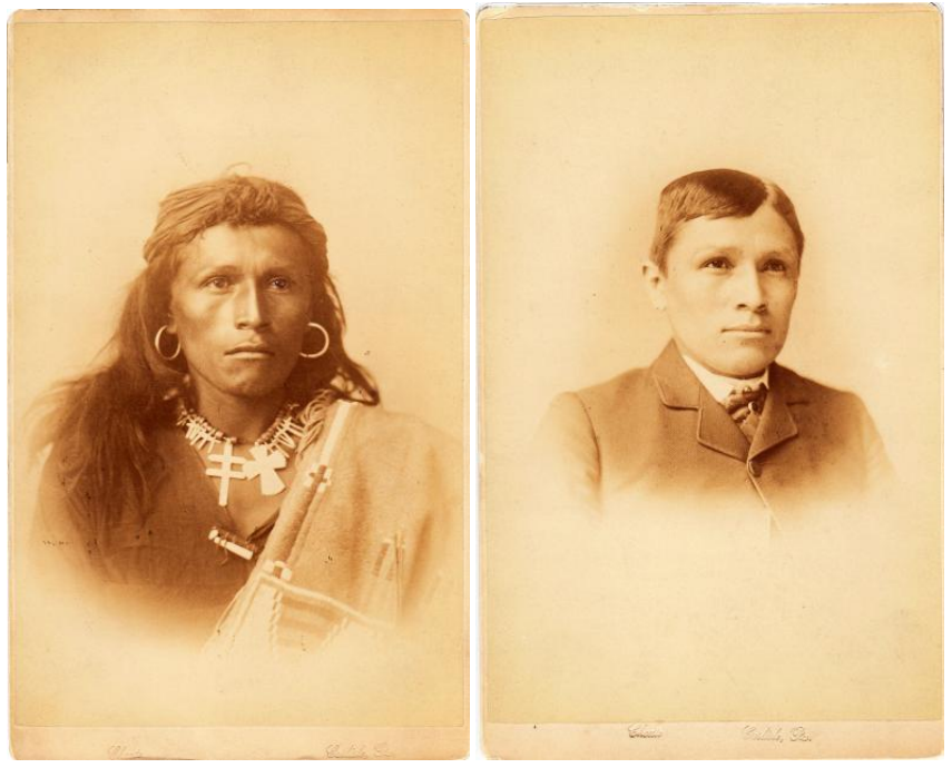 Portrait of a young man wearing traditional Native clothing and a portrait of a young man wearing Western clothing