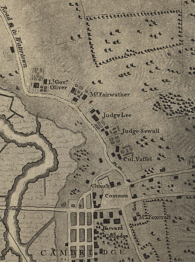 1777 map of Brattle Street, with occupants identified. The road lies next to the Charles River in Cambridge, MA