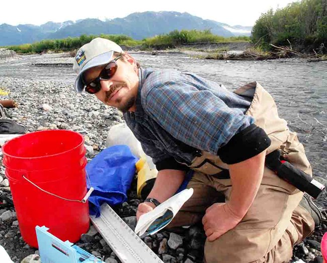 Trey during a fish survey in WRST