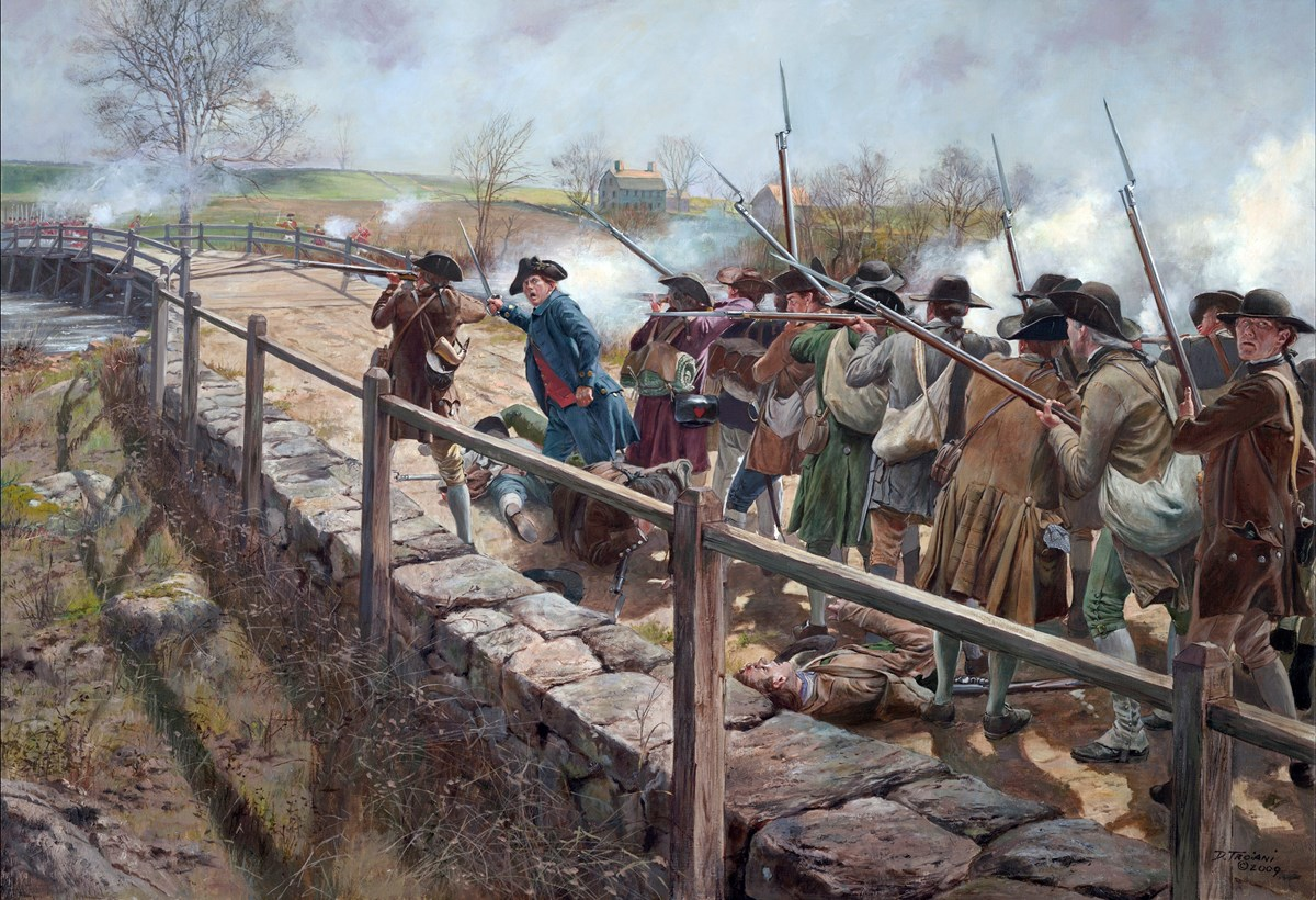 Painting of group of men on a bridge.