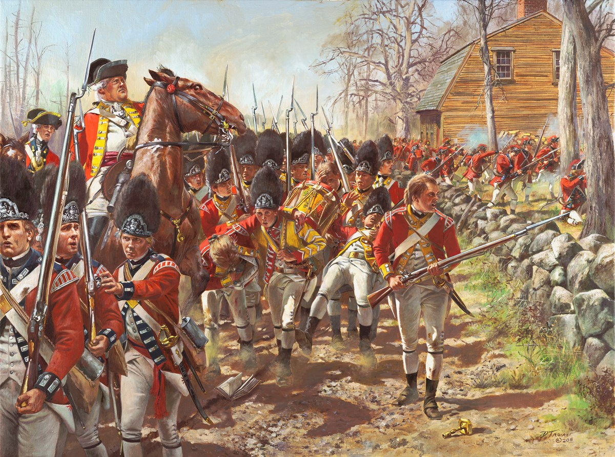 Painting of red coat soldiers.