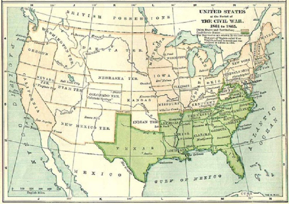 Civil War Map of the United States, (Courtesy of Cultural Resources, Inc.)