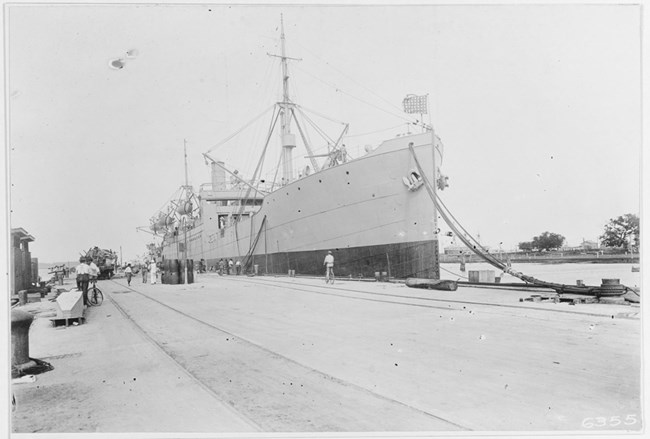 USS Houston moored at the dock