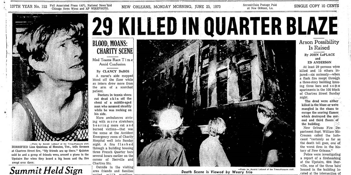 "Newspaper headline, ""29 Killed in Quarter Blaze"""