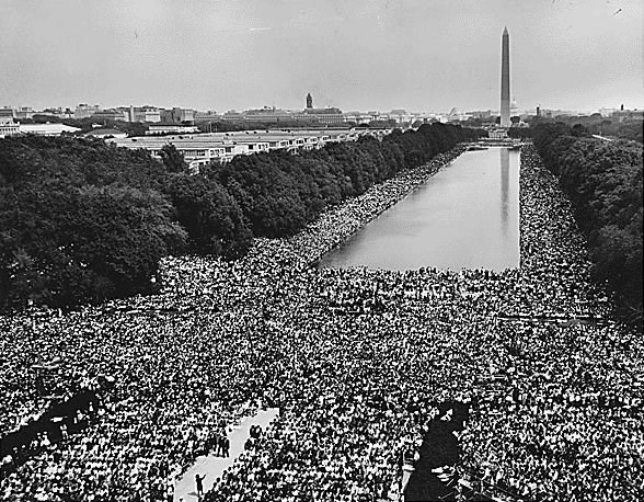 View of the National Mall with people gathered