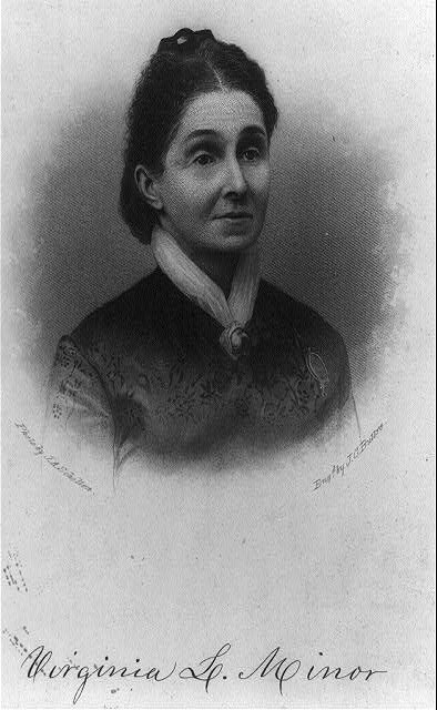 Virginia Louisa Minor, head-and-shoulders portrait, facing right