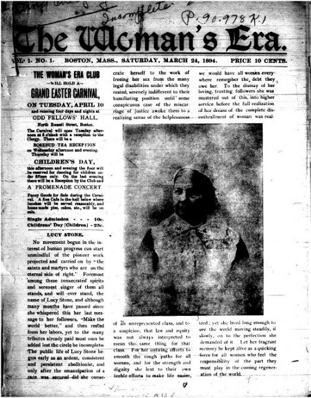 Front page of the Woman's Era Journal.