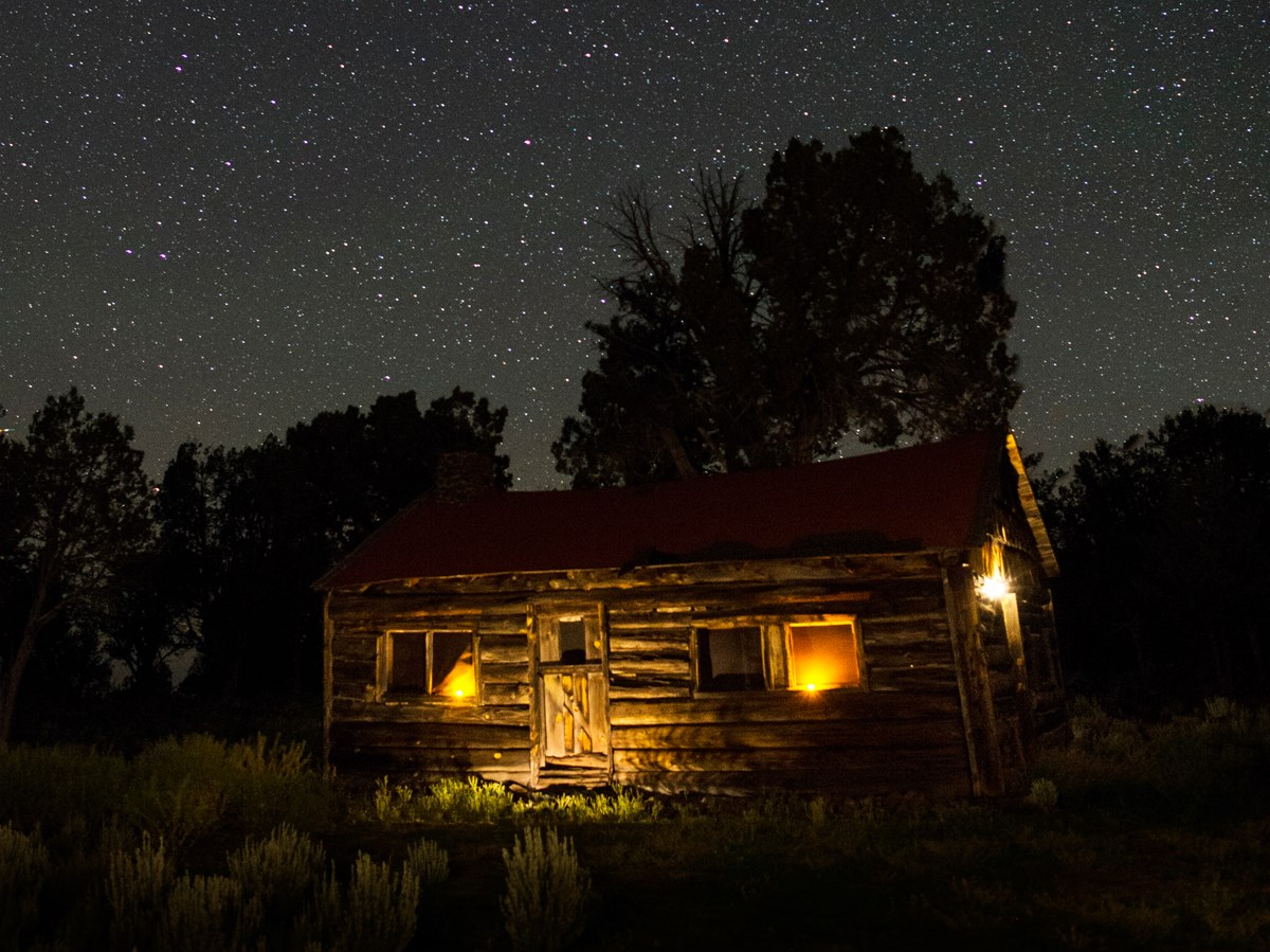 Starry night view of the Waring Ranch House, Parashant National Monument, AZ.
